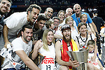 Real Madrid's Sergio Rodriguez celebrates with his family the victory in the Euroleague Final Match. May 15,2015. (ALTERPHOTOS/Acero)
