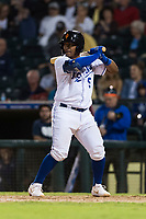 AFL West catcher Meibrys Viloria (9), of the Surprise Saguaros and Kansas City Royals organization, at bat during the Arizona Fall League Fall Stars game at Surprise Stadium on November 3, 2018 in Surprise, Arizona. The AFL West defeated the AFL East 7-6 . (Zachary Lucy/Four Seam Images)