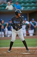 David Sanchez (16) of the Missoula Osprey at bat against the Ogden Raptors at Lindquist Field on August 12, 2019 in Ogden, Utah. The Raptors defeated the Osprey 4-3. (Stephen Smith/Four Seam Images)