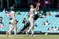 11th January 2021; Sydney Cricket Ground, Sydney, New South Wales, Australia; International Test Cricket, Third Test Day Five, Australia versus India; Pat Cummins of Australia catches the ball