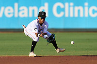 Jupiter Hammerheads shortstop Nasim Nunez (2) fields a ground ball during a game against the Palm Beach Cardinals on May 11, 2021 at Roger Dean Stadium in Jupiter, Florida.  (Mike Janes/Four Seam Images)