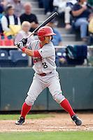 Spokane Indians shortstop Gabriel Roa #8 at bat during a game against the Everett AquaSox at Everett Memorial Stadium on June 20, 2012 in Everett, WA.  Everett defeated Spokane 9-8 in 13 innings.  (Ronnie Allen/Four Seam Images)