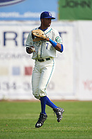 Hartford Yard Goats left fielder Rosell Herrera (7) during the first game of a doubleheader against the Trenton Thunder on June 1, 2016 at Sen. Thomas J. Dodd Memorial Stadium in Norwich, Connecticut.  Trenton defeated Hartford 4-2.  (Mike Janes/Four Seam Images)