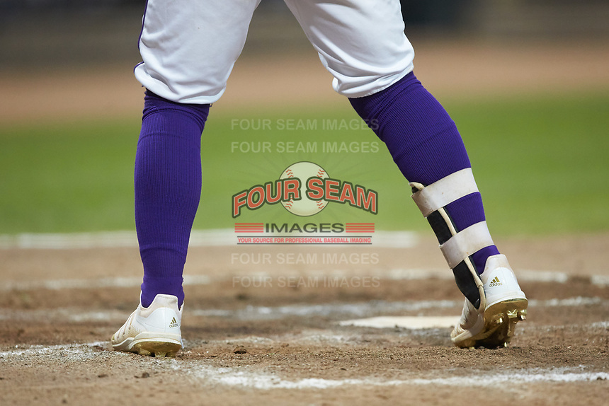 A close-up of the Adidas cleats worn by Winston-Salem Dash outfielder Steele Walker (6) during the game against the Lynchburg Hillcats at BB&T Ballpark on August 1, 2019 in Winston-Salem, North Carolina. The Dash defeated the Hillcats 9-7. (Brian Westerholt/Four Seam Images)