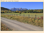 Dirt road and the Sneffels Range, Telluride, Colorado.<br />