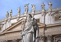 Statue of St. Paul's, St Peter's Basilica at the Vatican.Pope Francis celebrates the Holy Mass with the Rite of Confirmation  in St Peter Square at the Vatican.on April 28, 2013