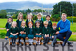 Brian O'Sullivan Principal of Scoil Bhride Loreto NS Killarney with his Junior infants class on Tuesday front row l-r: Sophie Jeal Senior, Kotryna Zickute, Amelia Healy, Erin MacSweeney, Conor Spellman, Dylan O'Brien. Back row:  Ciara O'Connor, Jessie Doolan, Lydia Coleman and Samuel Liu Tunxi Ong