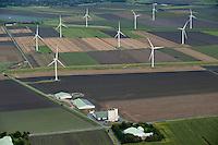 DEUTSCHLAND, Luftaufnahmen von REpower Windkraftanlagen in einmem Windpark in Schleswig-Holstein | GERMANY aerial view of wind farm with REpower wind turbine in Northern Germany