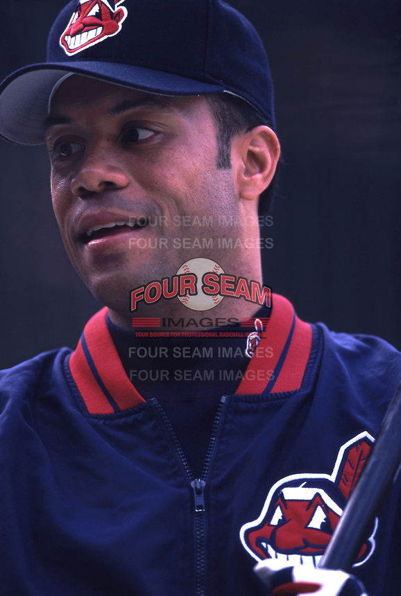 Roberto Alomar of the Cleveland Indians during a 2001 season MLB game at Angel Stadium in Anaheim, California. (Larry Goren/Four Seam Images)