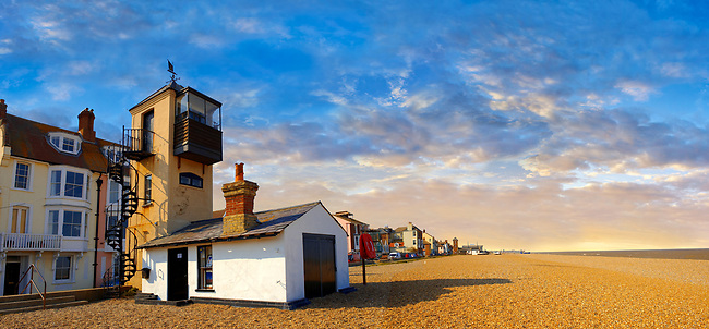 Sea front houses, lifeboat look out tower  and shingle beach of Aldeburgh - Suffolk - England
