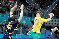 Spain's Viran Morros (l) and Australia's Tommy Fletcher during 23rd Men's Handball World Championship preliminary round match.January 15,2013. (ALTERPHOTOS/Acero) /NortePhoto