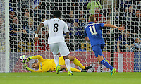 Pictured: Lukasz Fabianski of Swansea City (R) manages to save catch the ball from a penalty kick shot by Riyad Mahrez of Leicester City Saturday 27 August 2016<br /> Re: Swansea City FC v Leicester City FC Premier League game at the King Power Stadium, Leicester, England, UK
