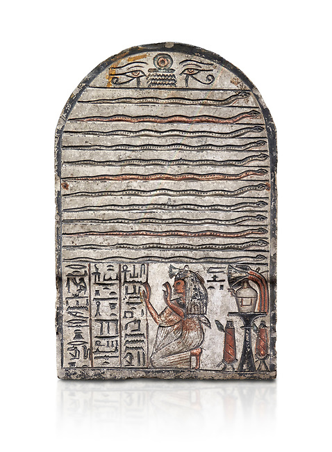 """Ancient Egyptian stele dedicated to Meretsesger, limestone, New Kingdom, 19th Dynasty, (1279-1213 BC), Deir el-Medina, Egyptian Museum, Turin. white background.<br /> <br /> The stele is divided into 3 registers. In the top section 2 wedjat eyes with shen sign above 3 zigzag lines indicating water are depicted. The second, largest register, is divided into 12 horizontal strips. Each is occupied by a coloured snake facing to the right.In the bottom register 3 columns of hieroglyphic text worship the goddess Meretseger: """"life, strength and health to the ka and the lady of the house Wab, the justified."""" To the right of the text the deceased woman is kneeling with her hands raised in adoration. She  wears a white robe. A lotus flower is placed on top of her wig. Behind her head there are 4 hieroglyphic signs that form the phrase """"at peace"""". To the right of the scene there is an offering table with a vessel flanked by a bunch of lotus flowers. Below the table there are 2 vessels on pedestals."""