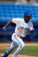 Dunedin Blue Jays third baseman Ivan Castillo (1) runs to first base during a game against the Daytona Tortugas on April 22, 2018 at Dunedin Stadium in Dunedin, Florida.  Daytona defeated Dunedin 5-1.  (Mike Janes/Four Seam Images)