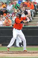 Bowie Baysox outfielder Buck Britton #5 bats during a game against the New Hampshire Fisher Cats at Prince George's Stadium on June 17, 2012 in Bowie, Maryland. New Hampshire defeated Bowie 4-3 in 13 innings. (Brace Hemmelgarn/Four Seam Images)