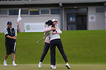 Darae Chung congratulates Vivian Lu on winning the women's amateur strokeplay title. Day four of the Renaissance Brewing NZ Stroke Play Championship at Paraparaumu Beach Golf Club in Paraparaumu, New Zealand on Sunday, 21 March 2021. Photo: Dave Lintott / lintottphoto.co.nz