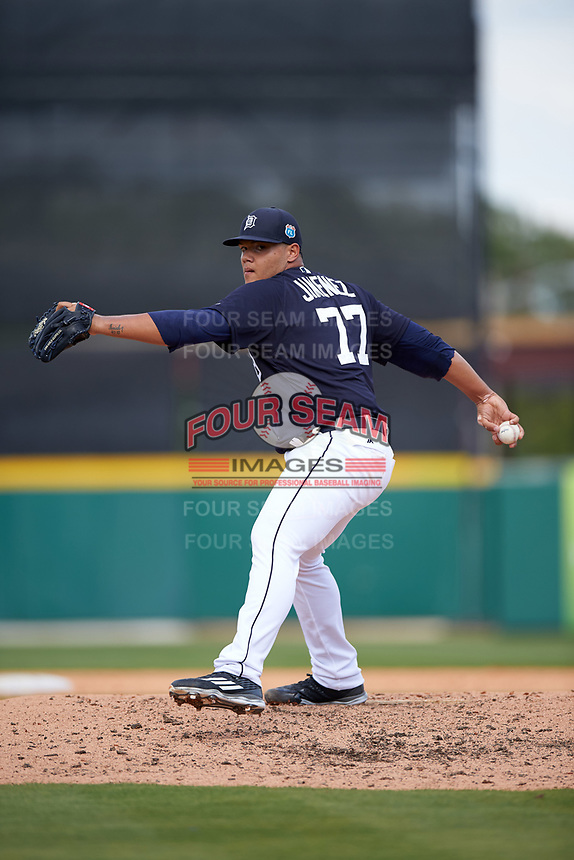 Detroit Tigers pitcher Joe Jimenez (77) delivers a pitch during an exhibition game against the Florida Southern Moccasins on February 29, 2016 at Joker Marchant Stadium in Lakeland, Florida.  Detroit defeated Florida Southern 7-2.  (Mike Janes/Four Seam Images)