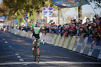 Sophie de Boer (NLD) celebrates the win at the finish line<br /> <br /> Koppenbergcross 2014