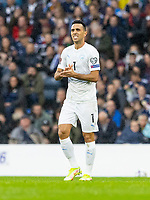 9th October 2021; Hampden Park, Glasgow, Scotland; FIFA World Cup football qualification, Scotland versus Israel; Eran Zahavi of Israel celebrates as he makes it 0-1 to Israel in the 5th minute from a direct free kick