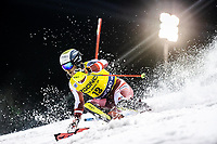 22nd December 2020, Madonna di Campiglio, Italy; FIS Mens slalom world cup race; Manuel Feller of Austria in action during his 1st run of mens Slalom