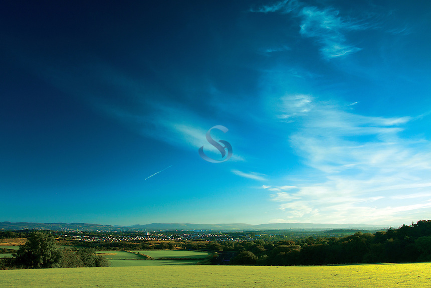 Looking across Glasgow to the Campsie Fells and Kilpatrick Fells from Dams to Darnley Country Park, Barrhead, East Renfrewshire