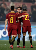 Calcio, Serie A: AS Roma - Benevento, Roma, stadio Olimpico, 11 gennaio 2018.<br /> Roma's Cengiz Under (c) celebrates with his teammates after scoring his second goal in the match during the Italian Serie A football match between AS Roma and Benevento at Rome's Olympic stadium, February 11, 2018.<br /> UPDATE IMAGES PRESS/Isabella Bonotto