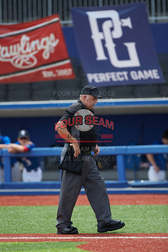 Home plate umpire Warren Knepp during the Atlantic Coast Prospect Showcase hosted by Perfect Game at Truist Point on August 22, 2020 in High Point, NC. (Brian Westerholt/Four Seam Images)