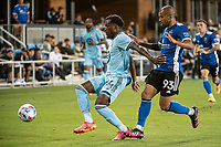 SAN JOSE, CA - AUGUST 17: Justin McMaster #24 of Minnesota United dribbles the ball during a game between San Jose Earthquakes and Minnesota United FC at PayPal Park on August 17, 2021 in San Jose, California.