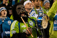 Seattle Sounders fans celebrate the win aginst Chivas USA at the XBox 360 Pitch at Quest Field in Seattle, WA on October 15, 2010. The Sounders defeated Chivas USA 2-1.