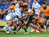 2nd October 2021, Cbus Super Stadium, Gold Coast, Queensland, Australia;  Argentina's Thomas Gallo scores a try.<br /> Australian Wallabies versus Argentina Pumas. Rugby Championship test match. Rugby Union. Gold Coast, Australia.