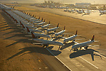 Extraordinary aerial photos show the impact of lockdown on travel as hundreds of 'furloughed'passenger jets are lined up just metres away from each other on a long runway.  Delta and Southwest Airliners parked their unused Boeings and Airbuses in these arid airports due to the low humidity and dry air in the region.<br /> <br /> The images of scores of aeroplanes were pictured at two separate airports, San Bernardino and Victorville in California, USA, where they have been grounded since the coronavirus lockdown in March.  SEE OUR COPY FOR DETAILS.<br /> <br /> Please byline: Jassen Todorov/Solent News<br /> <br /> © Jassen Todorov/Solent News & Photo Agency<br /> UK +44 (0) 2380 458800