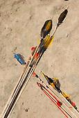 Aldeia Baú, Para State, Brazil. Amazonian Indigenous feather art, bo and arrows.