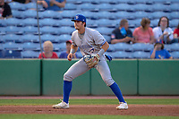 Dunedin Blue Jays third baseman Addison Barger (22) during a game against the Clearwater Threshers on May 18, 2021 at BayCare Ballpark in Clearwater, Florida.  (Mike Janes/Four Seam Images)