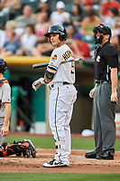 Michael Hermosillo (9) of the Salt Lake Bees bats against the Fresno Grizzlies at Smith's Ballpark on September 3, 2017 in Salt Lake City, Utah. The Bees defeated the Grizzlies 10-8. (Stephen Smith/Four Seam Images)