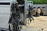 Hanging tack on horse trailer at Cheshire Fair in Swanzey, New Hampshire USA