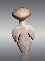 Ancient Greek Cycladic figurine, Kilia type ('stargazer'). Kilia, Gallipoli, Turkey, Circa 4360-3500 BC. Museum of Cycladic Art Athens, Grey Background.
