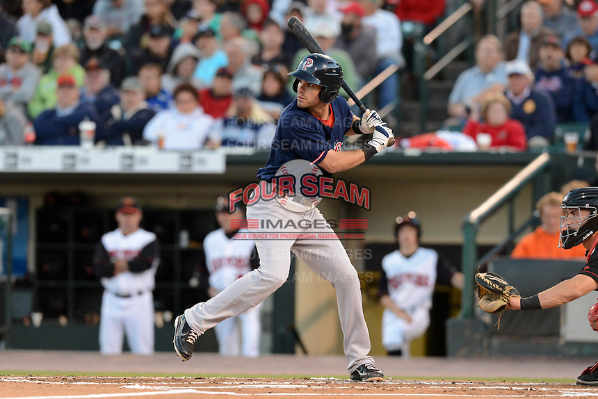 Pawtucket Red Sox third baseman Justin Henry (7) during an International League playoff game against the Rochester Red Wings on September 5, 2013 at Frontier Field in Rochester, New York.  Pawtucket defeated Rochester 7-2.  (Mike Janes/Four Seam Images)