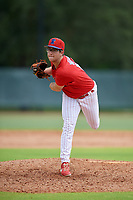 GCL Phillies West pitcher Riley Wilson (15) during a Gulf Coast League game against the GCL Tigers West on July 27, 2019 at the Carpenter Complex in Clearwater, Florida.  (Mike Janes/Four Seam Images)