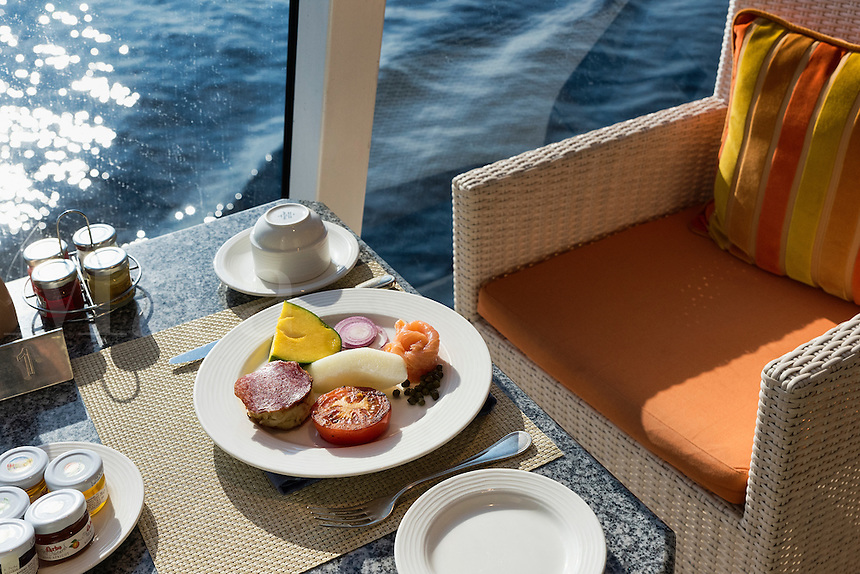 Breakfast setting on a cruise ship.