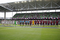 AUSTIN, TX - JULY 29: Qatar and the USMNT line up during a game between Qatar and USMNT at Q2 Stadium on July 29, 2021 in Austin, Texas.