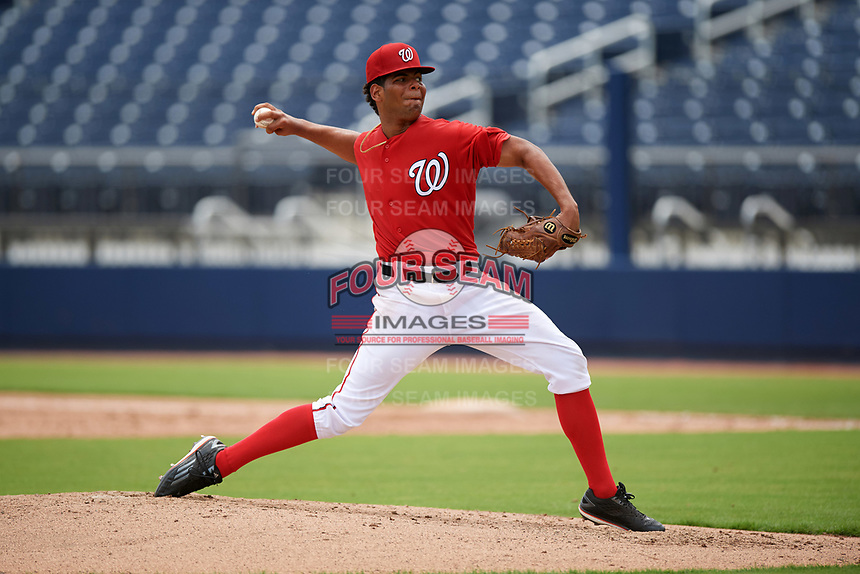 GCL Nationals starting pitcher Malvin Pena (37) delivers a pitch during the second game of a doubleheader against the GCL Mets on July 22, 2017 at The Ballpark of the Palm Beaches in Palm Beach, Florida.  GCL Mets defeated the GCL Nationals 4-1.  (Mike Janes/Four Seam Images)