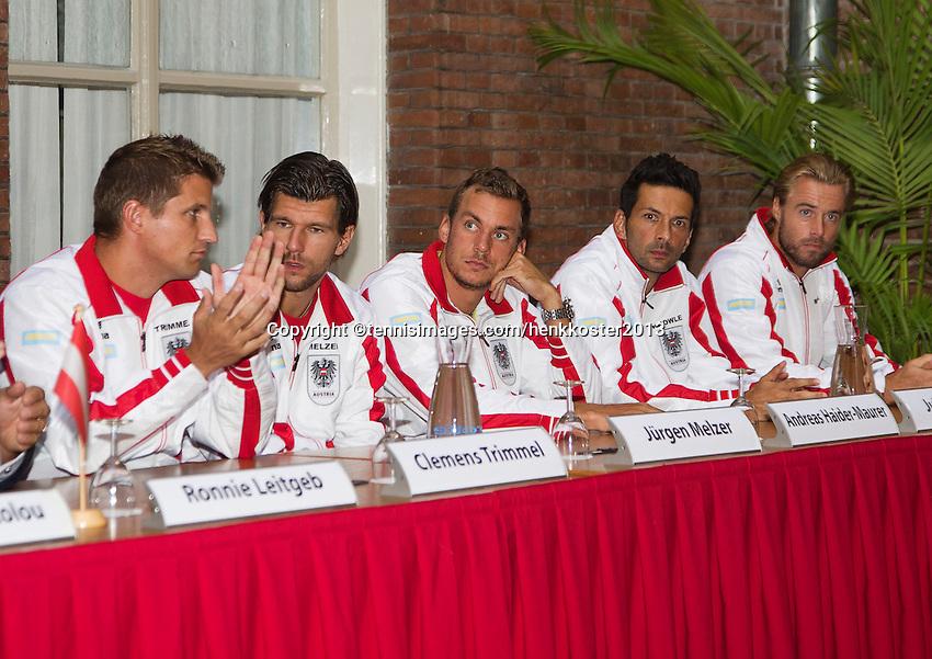 11-sept.-2013,Netherlands, Groningen,  Martini Plaza, Tennis, DavisCup Netherlands-Austria, Draw,  Austrian Team<br /> Photo: Henk Koster