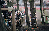 CX world champion Wout Van Aert (BEL/Crelan-Charles) leading the race in the 2nd lap<br /> <br /> Elite Men's Recon<br /> GP Sven Nys / Belgium 2018