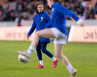 HOUSTON, TX - JANUARY 31: Carli Lloyd #10 of the United States warms up during a game between Panama and USWNT at BBVA Stadium on January 31, 2020 in Houston, Texas.