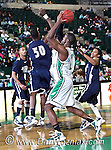 North Texas Mean Green forward George Odufuwa (4) in the game between the Jackson State Tigers and the University of North Texas Mean Green at the North Texas Coliseum,the Super Pit, in Denton, Texas. UNT defeated Jackson 68 to 49