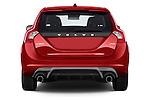 Straight rear view of a 2014 Volvo V60 Summum R-design 5 Door Wagon 2WD Rear View  stock images