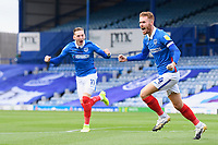 Tom Naylor of Portsmouth celebrates the first goal during Portsmouth vs MK Dons, Sky Bet EFL League 1 Football at Fratton Park on 10th October 2020
