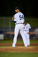 Connecticut Tigers relief pitcher Juan Aguilera (54) looks in for the sign during a game against the Hudson Valley Renegades on August 20, 2018 at Dodd Stadium in Norwich, Connecticut.  Hudson Valley defeated Connecticut 3-1.  (Mike Janes/Four Seam Images)
