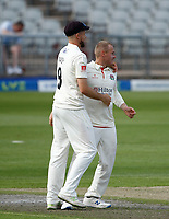 29th May 2021; Emirates Old Trafford, Manchester, Lancashire, England; County Championship Cricket, Lancashire versus Yorkshire, Day 3; Matt Parkinson celebrateswith Tom Bailey after giving Lancashire the breakthrough they need with Adam Lyth of Yorkshire caught behind by Luke Wells on 72-1