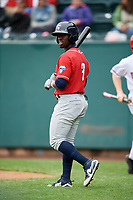 New Hampshire Fisher Cats center fielder Jonathan Davis (3) walks to the plate during the first game of a doubleheader against the Harrisburg Senators on May 13, 2018 at FNB Field in Harrisburg, Pennsylvania.  New Hampshire defeated Harrisburg 6-1.  (Mike Janes/Four Seam Images)